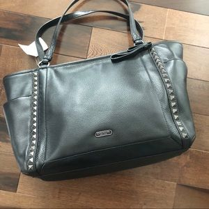 NWT COACH BLACK LEATHER TOTE BAG
